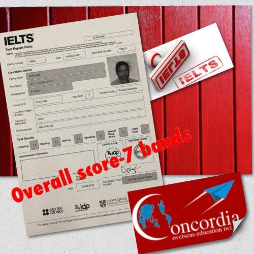 Congrats ConCordian Jerly K Abraham #IELTS score-7 bands